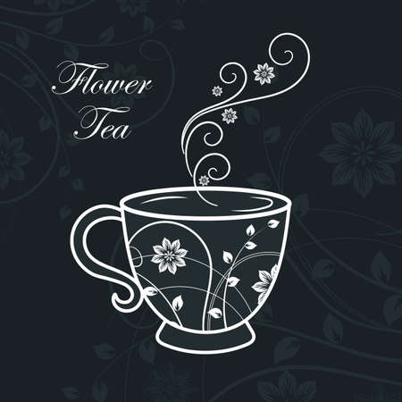 Cup with floral design elements. Vector illustration on black background 일러스트