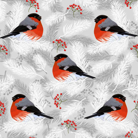 Seamless pattern with bullfinches, rowan berries and fir branches. Vector illustration