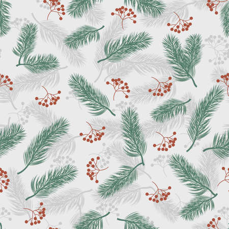 Seamless pattern with rowan berries and fir branches. Vector illustration on gray background