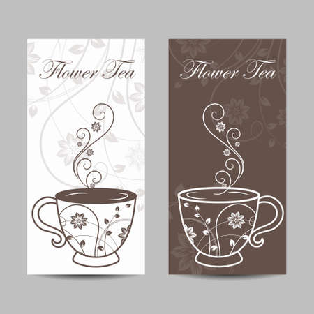 Set of vertical banners. Cup with floral design elements. Vector illustration in brown and white colors. 일러스트