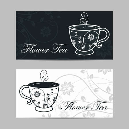 Set of horizontal banners. Cup with floral design elements. Vector illustration in black and white colors.