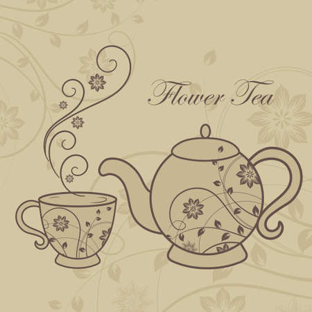 Teapot and cup with floral design elements. 일러스트