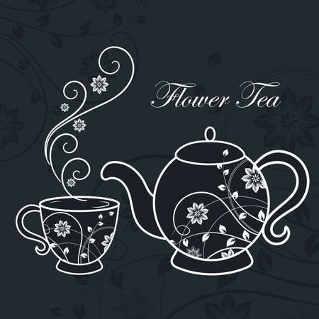 Teapot and cup of tea with floral design elements. Vector illustration