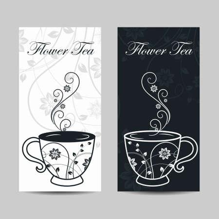 Set of vertical banners. Cup with floral design elements. Vector illustration in black and white colors. Ilustração