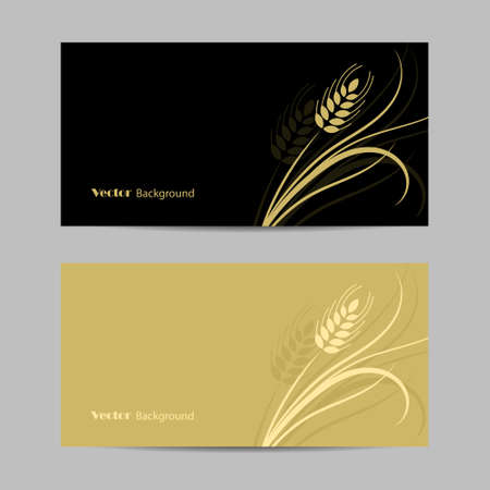 Set of horizontal banners. Wheat spikelet on yellow and black background