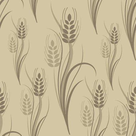 Seamless pattern with brown wheat spikelets on a beige background. Vector illustration