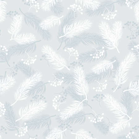 Seamless pattern with rowan berries and fir branches. Vector illustration on blue background. Ilustração