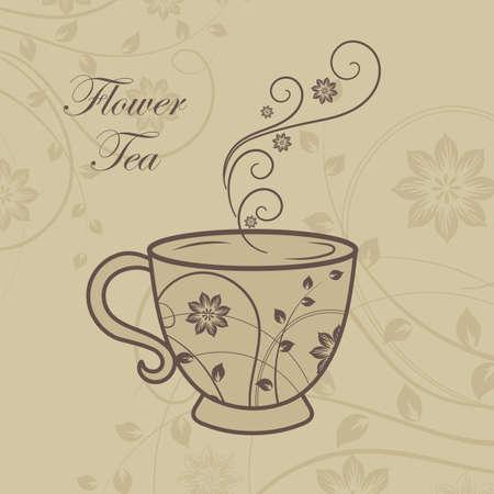 A cup of tea with floral design elements. Vector illustration Ilustração