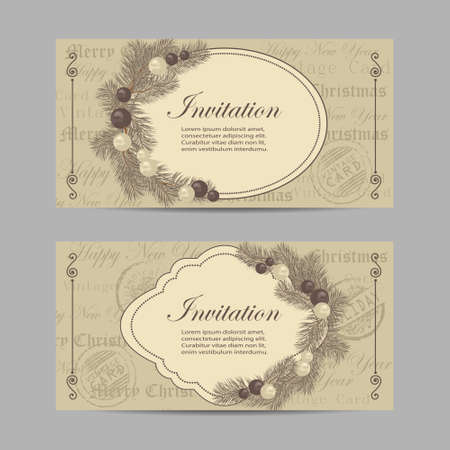 Set of horizontal banners. Merry Christmas and New year invitations with tree branches decorated with balls in vintage style.