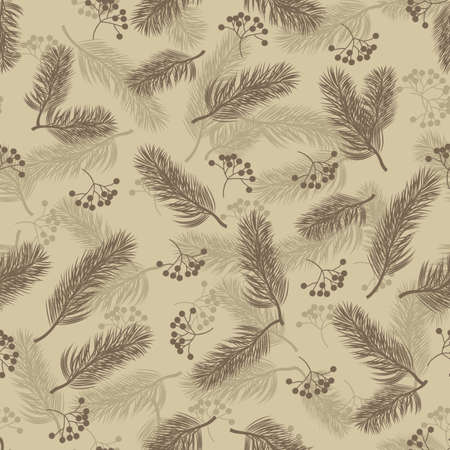 Seamless pattern with rowan berries and fir branches. Vector illustration on beige background.