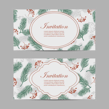 Set of horizontal banners with rowan berries and fir branches.
