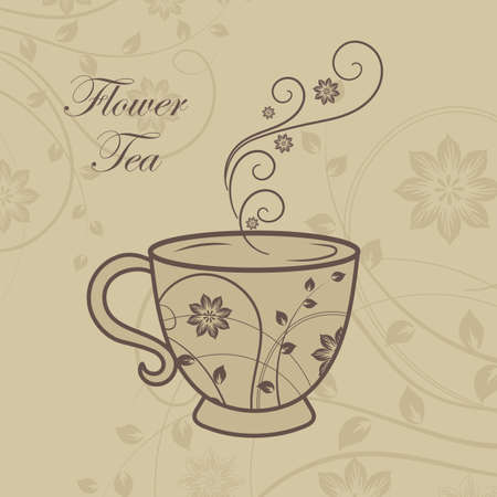 A cup of tea with floral design elements.