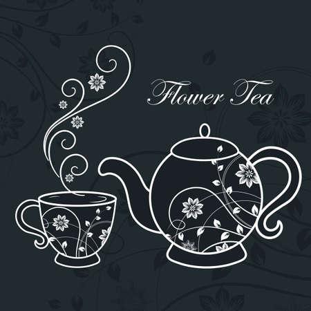 Teapot and cup with floral design elements. Ilustração
