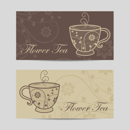 Set of horizontal banners. Cup with floral design elements.