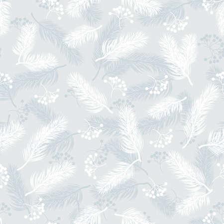 Seamless pattern with rowan berries and fir branches. Ilustração