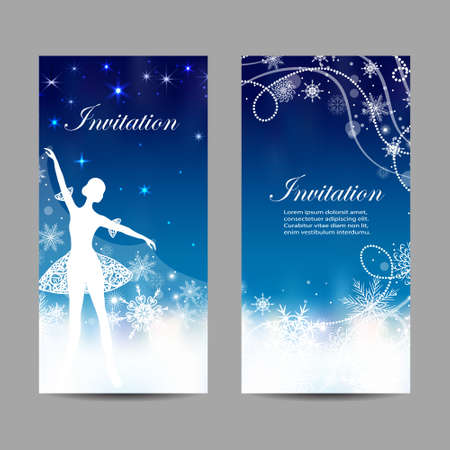 Christmas and New Year invitations with tender ballerina holding a snow cover.
