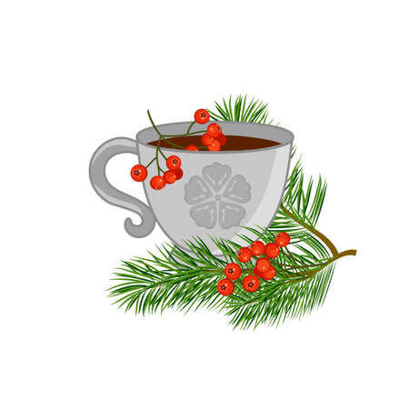 A cup of tea with pine branches and red rowan. Vector illustration.