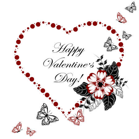 Happy Valentines day greeting card. Red heart made of dots with beautiful red flower and butterflies on white background.