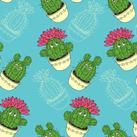 Seamless pattern with cactus and succulents in the pots. Hand drawn background. Vector illustration