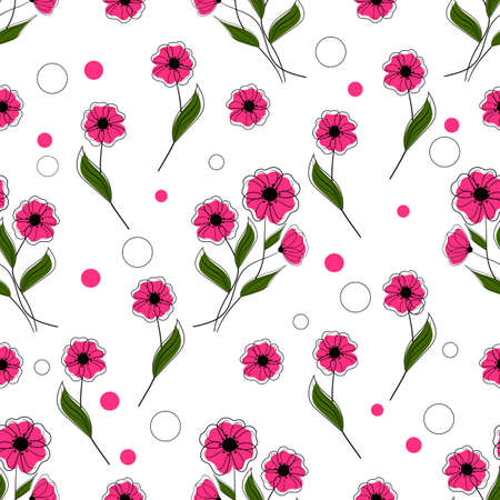 Seamless pattern with pink flowers on white background. Vector illustration