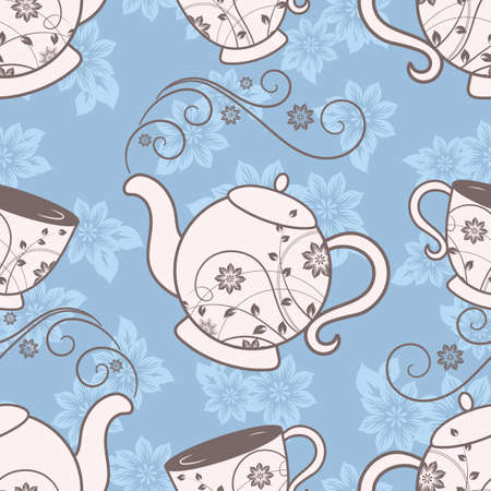 Seamless pattern with teapots and cups with floral design elements. Vector illustration