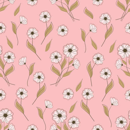 Seamless pattern with white flowers on pink background. Vector illustration