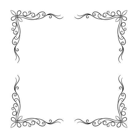 Decorative vintage frame on white background. Vector illustration Vettoriali