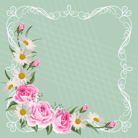 Beautiful vintage frame with flowers on green pastel background.  イラスト・ベクター素材