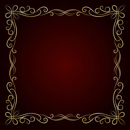 Vintage gold frame on dark background. Vector illustration.  イラスト・ベクター素材