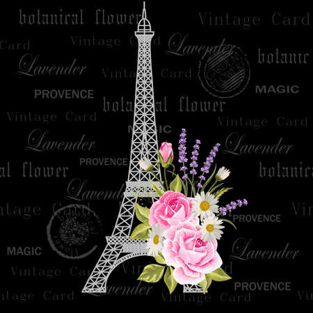 Vintage postcard with Eiffel Tower and flowers. 向量圖像