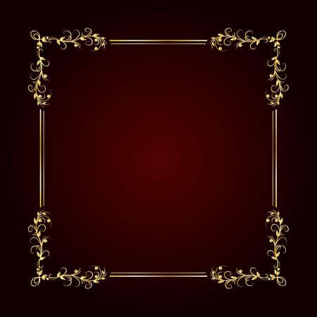 Vintage gold frame on dark background. Vector illustration
