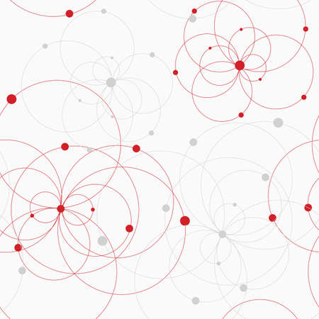 Seamless geometric pattern with connected circles and dots. Vecteurs