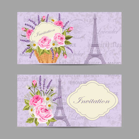 Set of horizontal banners with Eiffel Tower and flowers on vintge background