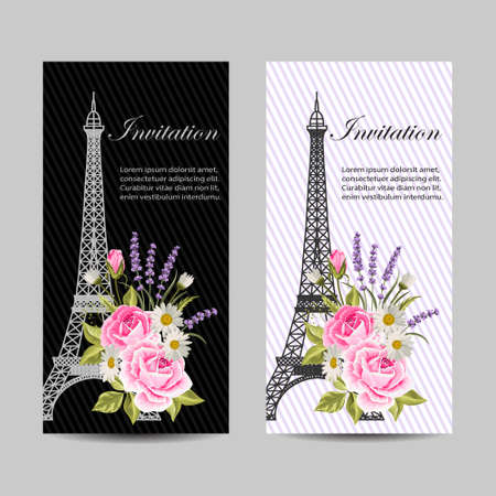 Set of vertical banners with Eiffel Tower and flowers.