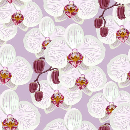 Seamless pattern with white orchids on lilac background