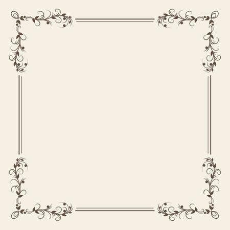 Black calligraphy ornamental decorative frame on white background