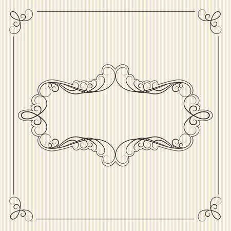 Brown calligraphy ornamental decorative frame on white striped background