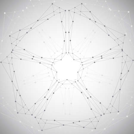 Geometric pattern with connected lines and dots. Vector illustration