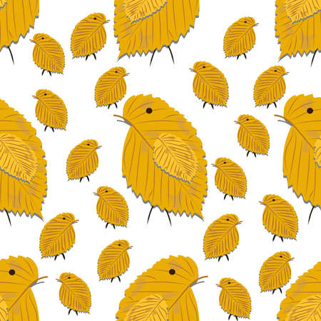 Seamless pattern with chickens made of yellow birch leaves isolated on white background for use in your design.