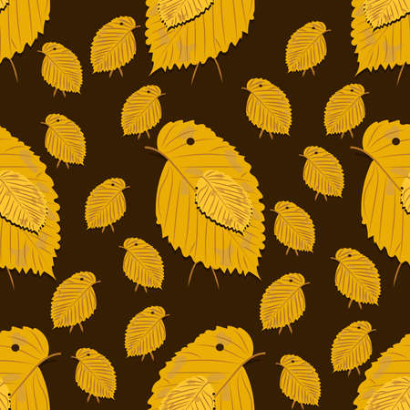 Seamless pattern with chickens made of yellow birch leaves on dark background