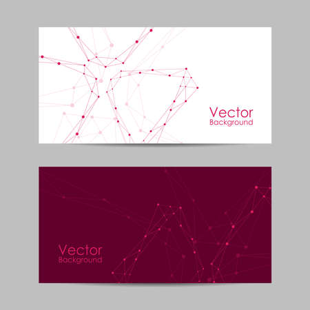 Set of banners with connected lines and dots.