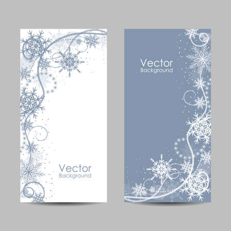 Set of vertical banners with winter pattern