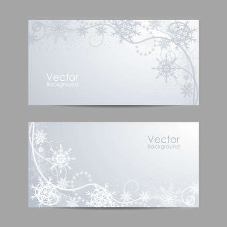 Set of horizontal banners with winter pattern