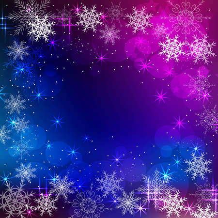 Beautiful winter frame with snowflakes and stars