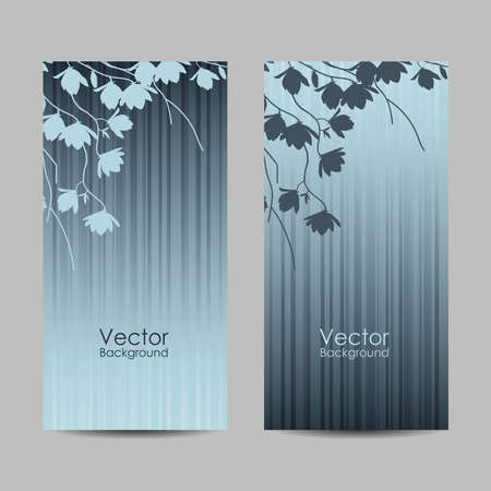 Set of vertical banners with magnolia branches