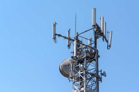 reticular construction to support antennas for smartphones and cell phones Stock Photo