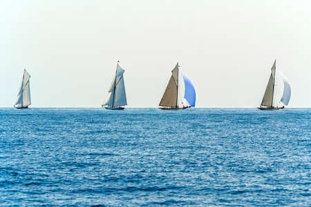sailboats competing in the Mediterranean Sea Stock Photo