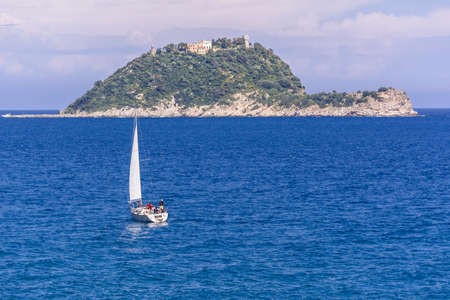 very good sailing boat tour with the wind in the hair to wrap the waves of the Ligurian Sea, Mediterranean Sea, Italy