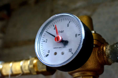 gear equipment that allows the water pressure to be reduced in the home pipes Stock Photo