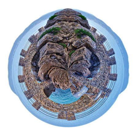 small planet of Alassio with a bridge along the coast overlooking the Mediterranean Sea, in Italy Stock Photo